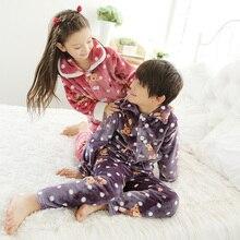 Kids Sleep Nightshirt For Pajamas Flannel Cardigan Pyjamas Child Boy And Girls lounge Pajama Set
