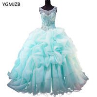 Light Aqua Pink Sweet 15 Year Quinceanera Dresses 2016 Off The Shoulder Beaded Top Pleats Organza Birthday Party Prom Gowns