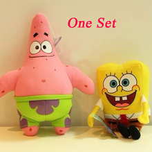 23CM 2pcs lot Cartoon Animal Doll Toy Stuffed and Plush Toys SpongeBob and Patrick Star Free