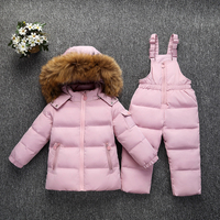 Winter warm down jacket for baby girl clothes child clothing sets boys parka real fur coat kids snow wear infant overcoat