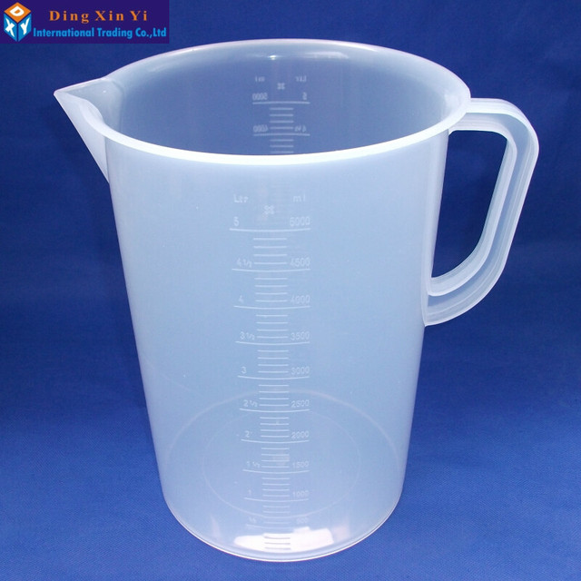 2PCS/lot 5000ml plastic measuring lab beaker with handle Clear White Plastic Measuring Cup Beaker for Lab Kitchen