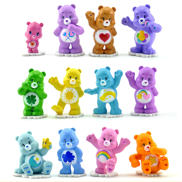 12 Pcs/lot Anime Care Bears Mini PVC Action Figures Toys 4-5cm Collectible Colorful Bears Model Dolls For Kids Toy Gift