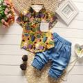 2016 Print Flower T-Shirt Shorts Sets Boys Clothing Set  Kids Cotton Suit Casual Clothing Set 2 Pieces T-Shirts Short Pants