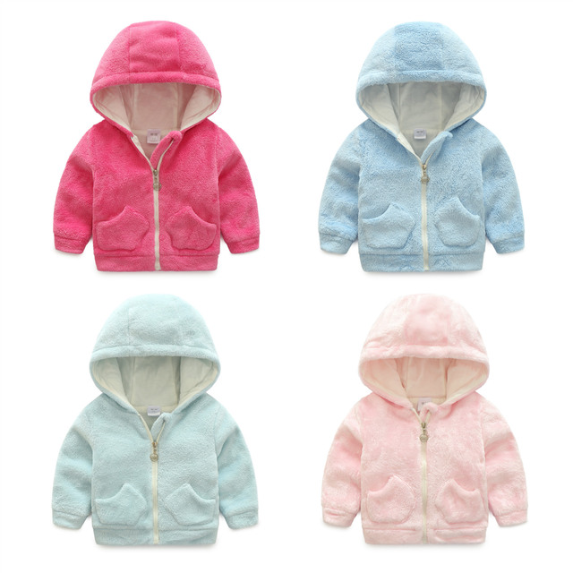 0~2 Years Baby Winter Coat Cotton Thickened Coral Fleece Hoodie Jacket Winter Girls Boys  Clothes