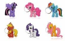 20 pcs/lot Cute Little Horse PVC Cartoon Key Chain Anime Figure Ring Kid Toy Pendant Keychain Children Holder Party Gift
