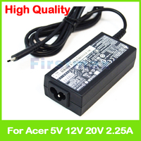 New 45W 5V 12V 20V 2.25A type C for Acer Chromebook 14 CP5 471 laptop Ac Power Adapter Charger KP.04503.005 KP.0450H.005
