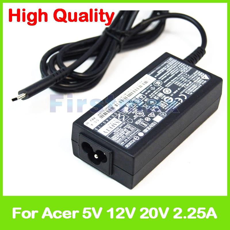 Nouveau 45 W 5 V 12 V 20 V 2.25A type C pour Acer Chromebook 14 CP5-471 chargeur adaptateur secteur pour ordinateur portable KP.04503.005 KP.0450H. 005
