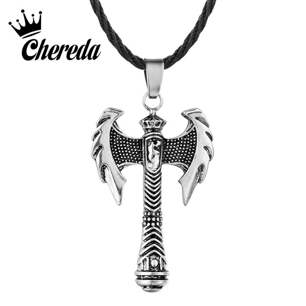 Chereda Axe Viking Slavic Necklace for Men Punk Biker Hiphop Jewelry Vintage Party Bar Boyfriend Best Gift