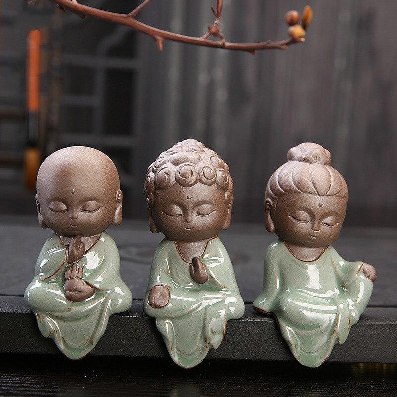 Pequeñas estatuas creativas de Buda Tathagata budista Linda Arena de Buda té de cerámica accesorios para mascotas budha ornamentos boutique Reflujo de incienso quemador creativo decoración del hogar cerámica Buda incienso titular incensario budista + 20 piezas conos de incienso regalo gratis