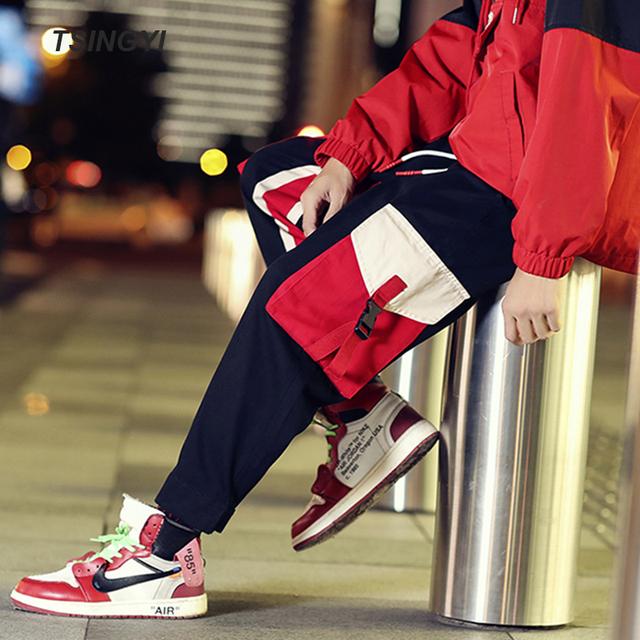 Tsingyi 5XL Ins Hot Fashion Spliced Multi Pockets joggers Cargo Pants Men Streetewar Hip Hop  Drawstring Tactical Male Trousers