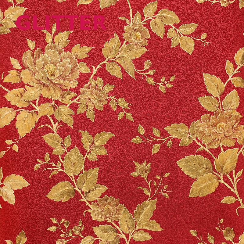 Modern Red Gold Foil Living Room Wallpaper Italy Flower 3d Landscape Romantic Orange Wallpaperkins Flowers