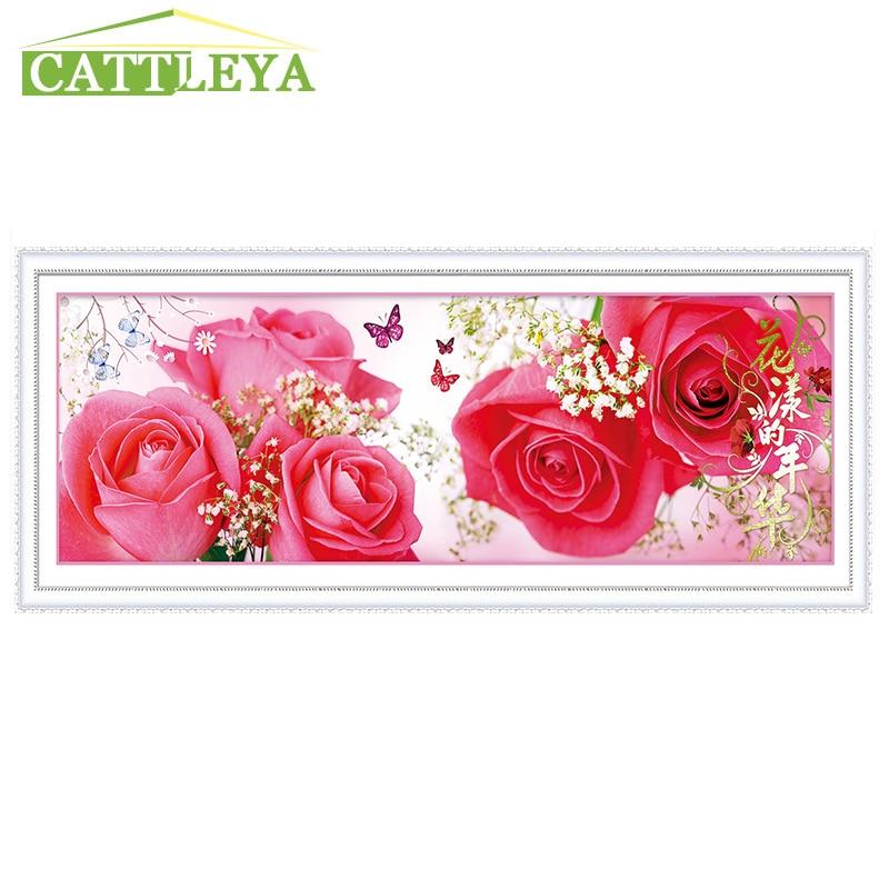 CATTLEYA 5D DIY Diamond Painting Rose Flower Diamond Cross Stitch Square Diamond Sets Unfinished Diamond Embroidery Decoration