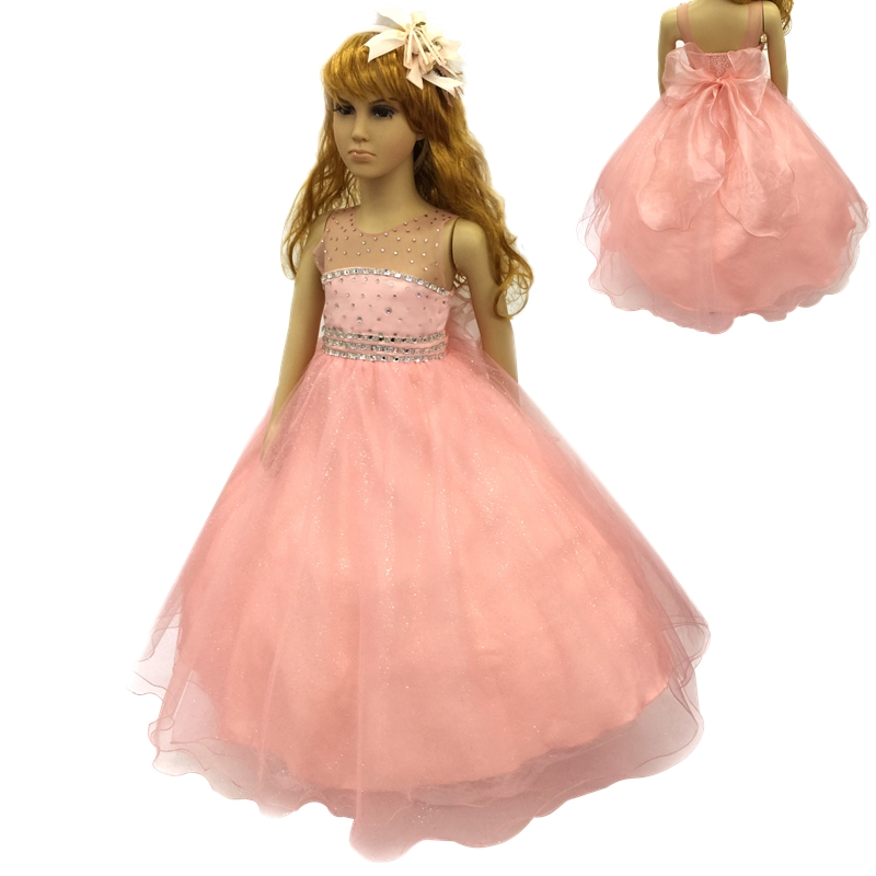 Cotton Lining 2T- 12T Girl Party Dress 2018 New Arrival Peach Flower Girl Dresses Stone Royal Blue kids evening Gown With Bustle