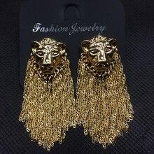 Fashion exaggerated lion head metal chain tassel dangle earr