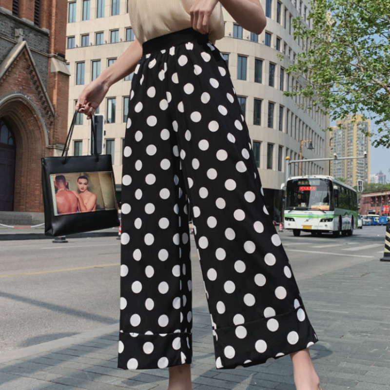 Woherb Casual Polka Dot Print Chiffon   Wide     Leg     Pants   Korean 2019 Women Elastic High Waist Summer   Pant   Spodnie Damskie 22211