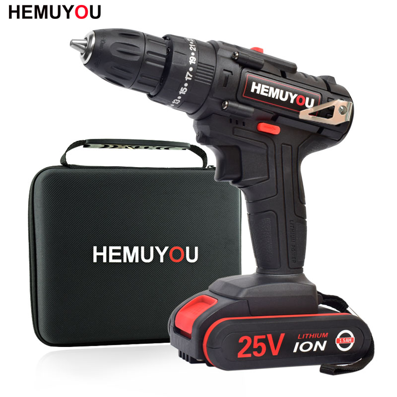 25V Impact Drill Electric Hand Drill Battery Cordless Hammer Drill Electric Screwdriver Home Diy Power Tools+Cloth Tool Bag25V Impact Drill Electric Hand Drill Battery Cordless Hammer Drill Electric Screwdriver Home Diy Power Tools+Cloth Tool Bag