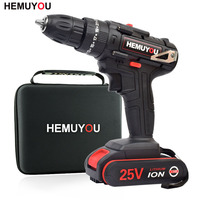 25V Impact Drill Electric Hand Drill Battery Cordless Hammer Drill Electric Screwdriver Home Diy Power Tools+Cloth Tool Bag