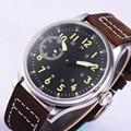 44 мм Corgeut стерильный черный циферблат 17 Jewels 6497 мужские наручные часы с ручным заводом