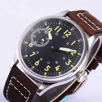 44 มม.Corgeut Sterile Black Dial 17 Jewels 6497 Hand Winding ผู้ชายนาฬิกาข้อมือ