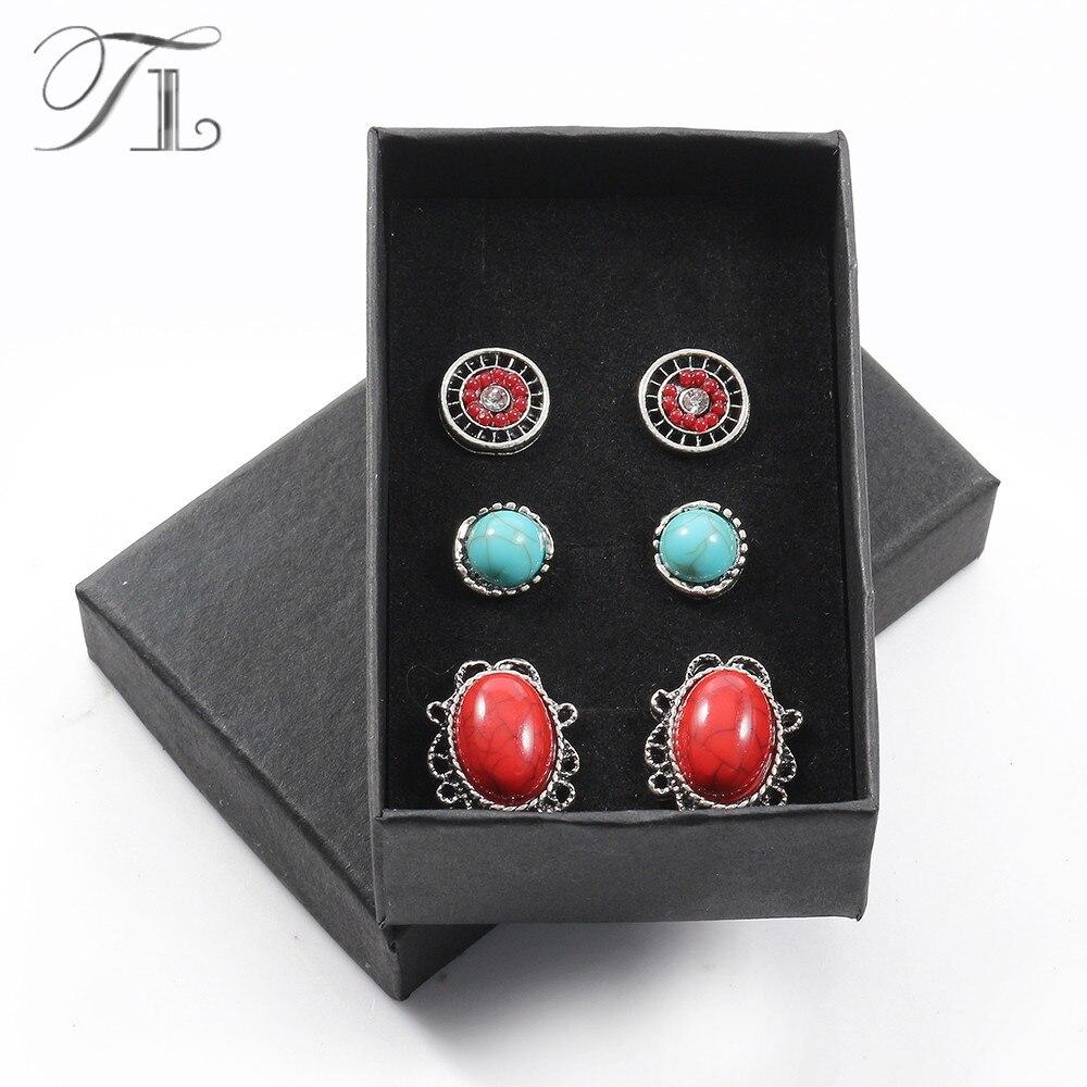 TL Silber Farbe Einfache Design Strass Ohrringe Runde 3 paare/los Großhandel Günstige Ohrringe Für Frauen Mode Ohrring Set