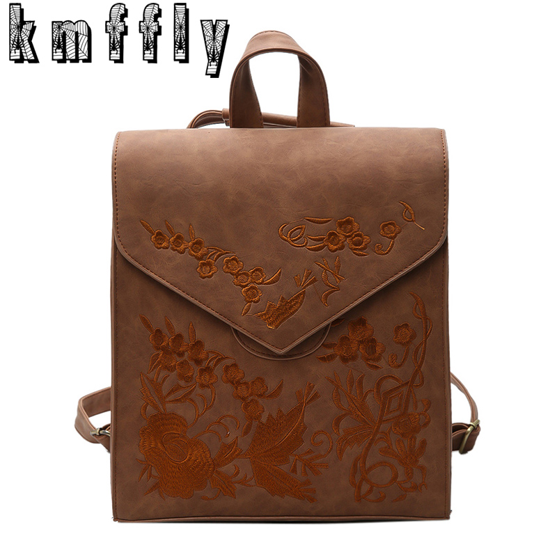 Fashion Embroidery Vintage Backpack Women Leather Backpack Teenage Backpacks For Girls 2017 Feminine Backpack Sac A Dos Femme kajie pu skin leather large capacity student fashion women backpacks for teenage girls sac a dos travel feminine bag mochila