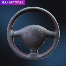 цена на Car Braid On The Steering Wheel Cover for Volkswagen VW Golf 4 1998-2004 Passat B5 1996-2005 Polo Seat Leon for Skoda Fabia