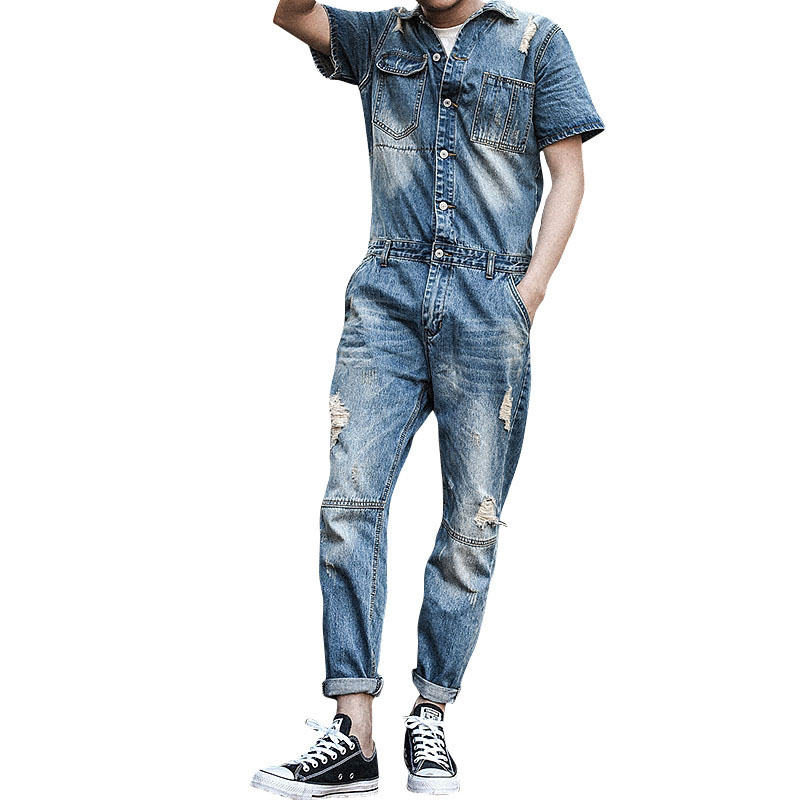 2017 New Fashion Set Casual Men Short Sleeves Denim Overalls Jumpsuit Nine Pants Hole Jeans Blue Overalls Vintage Singer Costume  new 2016 fashion brand women washed denim casual hole romper jumpsuit overalls jeans macacao feminino vintage ripped jeans