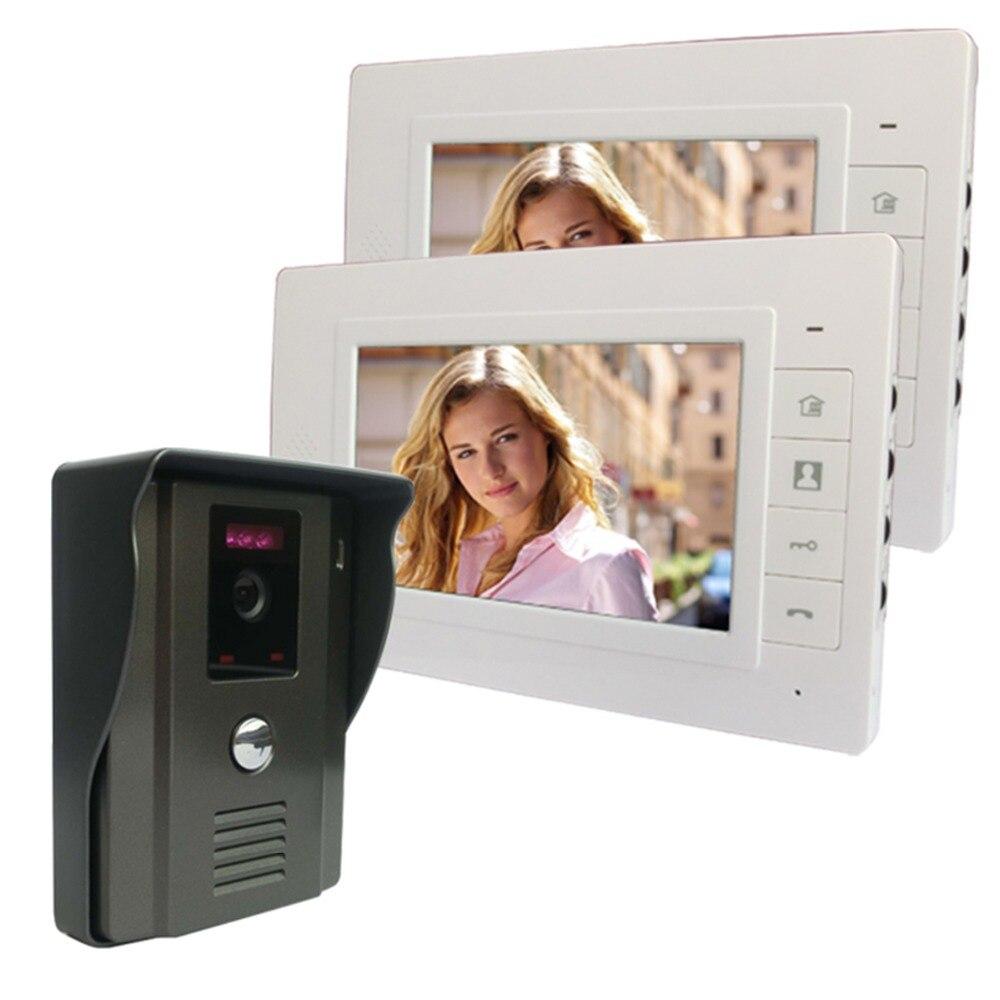 """bilder für 7 """"farbe Video-türsprechanlage Video Intercom 2 Monitor Türklingel Intercom Kit IR Nachtsicht-kamera für Apartment F4338B2"""