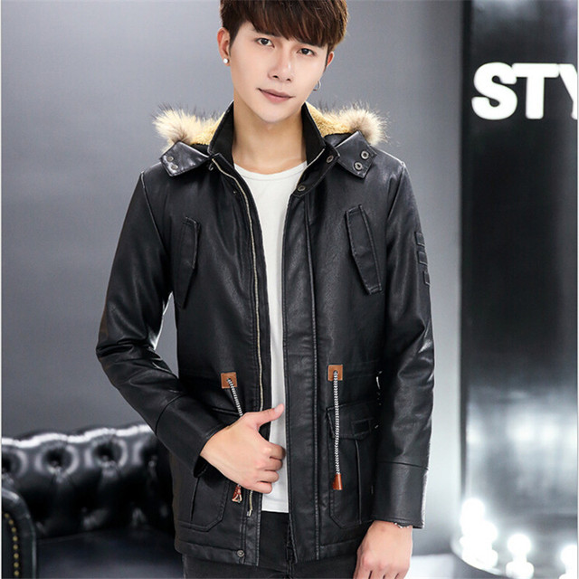 Men Leather Jackets With Fur Collar 2016 Plus Size Black Brown Stand Collar Hood Autumn Spring Thicken Coats For Men M1413