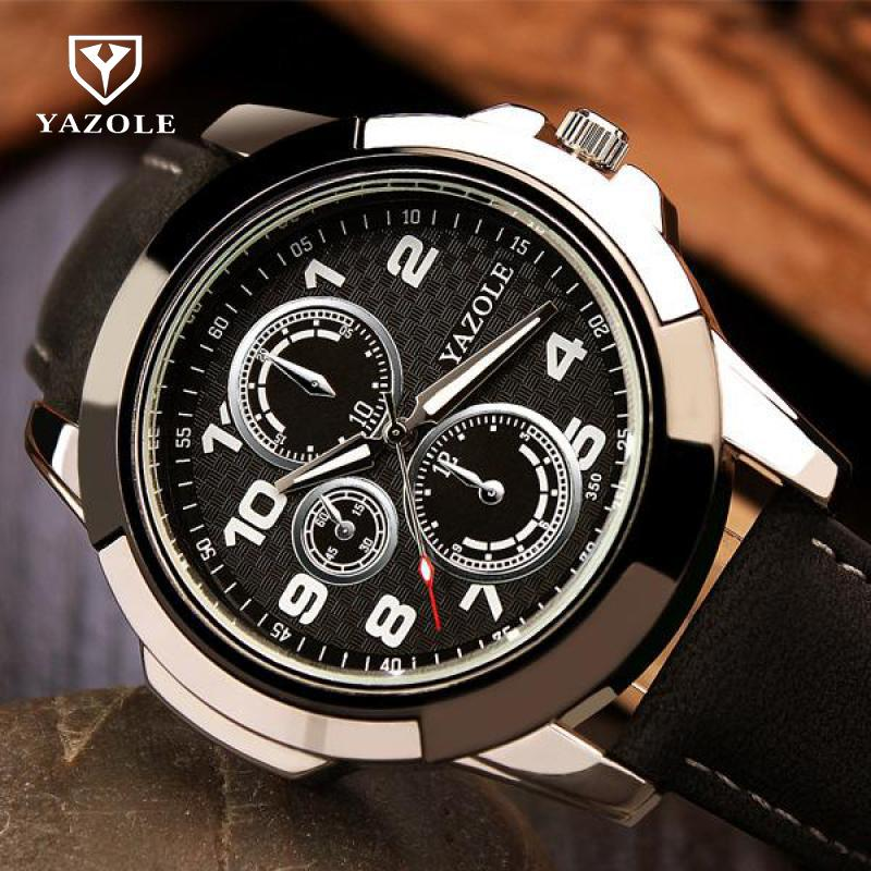 New Fashion YAZOLE 3ATM Sport Army Genuine Leather Quartz Wrist Watch Wristwatches for Men Male Students Boy