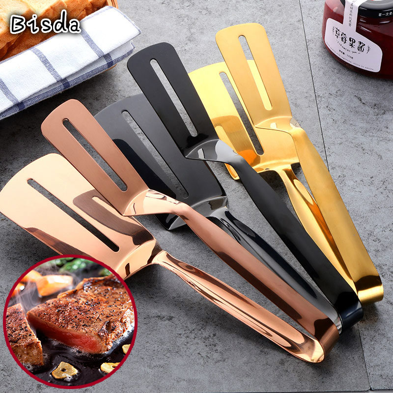 1Pc Cookware Steak Tong Gold Bread Clip Grill Accessory Kitchen Tongs Solid Stainless Steel Food Cooking