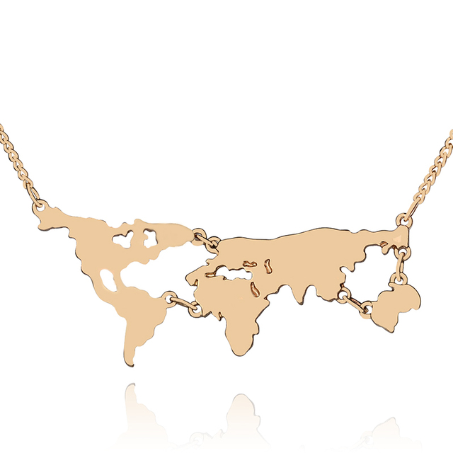 World map composition Necklaces Pendants exaggerated World Continents necklace men women gift for Geography Teacher Student boy