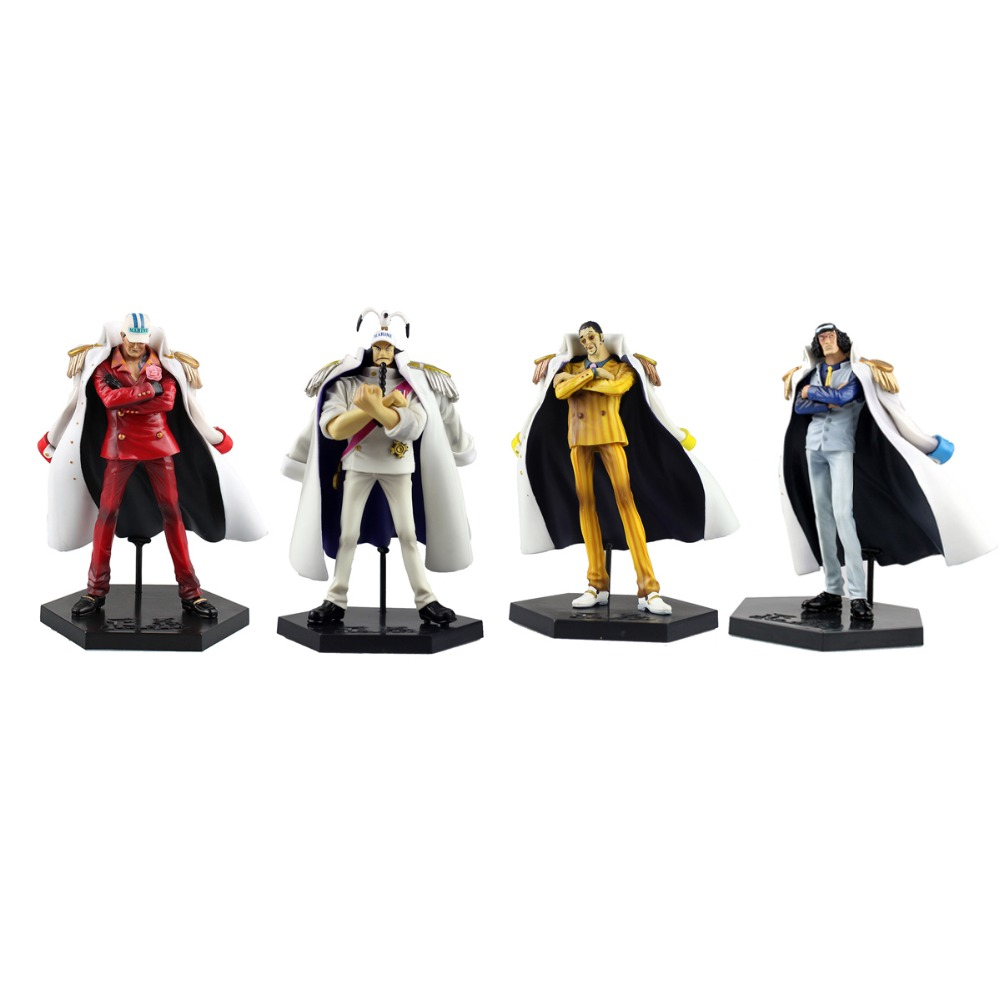 4pcs Set One Piece Anime Marine Figures Kizaru Sengoku Aokiji Akainu 7 Free Shipping one set 4 pcs 95mm