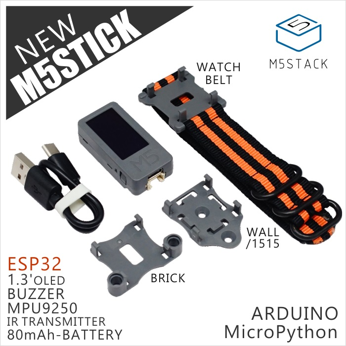M5Stack Official New M5Stick Mini Development Kit ESP32 1.3'OLED 80mAh Battery Inside Buzzer IR Transmitter Mpu9250 Optional