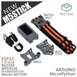 M5stack oficial novo m5stick mini kit de desenvolvimento esp32 1.3 oled oled 80 mah bateria dentro buzzer ir transmissor mpu9250 opcional