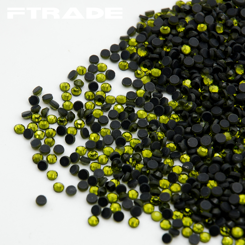 Olive green Color SS6-SS30 1440pcs/bag DMC Hot Fix Rhinestone Crystal Flatback Strass Rhinestone for clothes bags accessaries