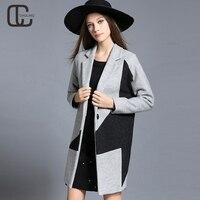 2017 New Arrival Winter Women S Casual Woolen Coat Camel Gray Plus Size Outerwear Patchwork Jacket
