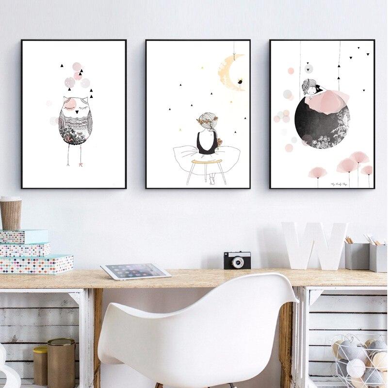 çocuklar Kız Poster Sevimli Duvar Sanat Baskı Kız Bebek Kız Için