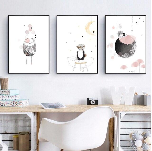 Enfants Fille Affiche Mignon Wall Art Imprimer Fille Avec Des