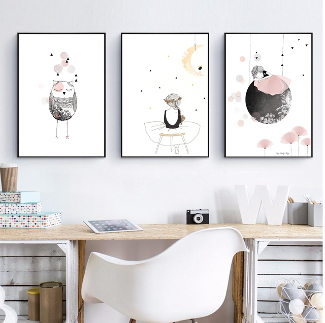 Kids Girl Poster Cute Wall Art Print , Girl With Flowers Cartoon ...