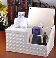Creative Leather Multifunction Tssue Boxes Paper Tube Pumping Cassette Storage Box Remote Control Living Room Storage