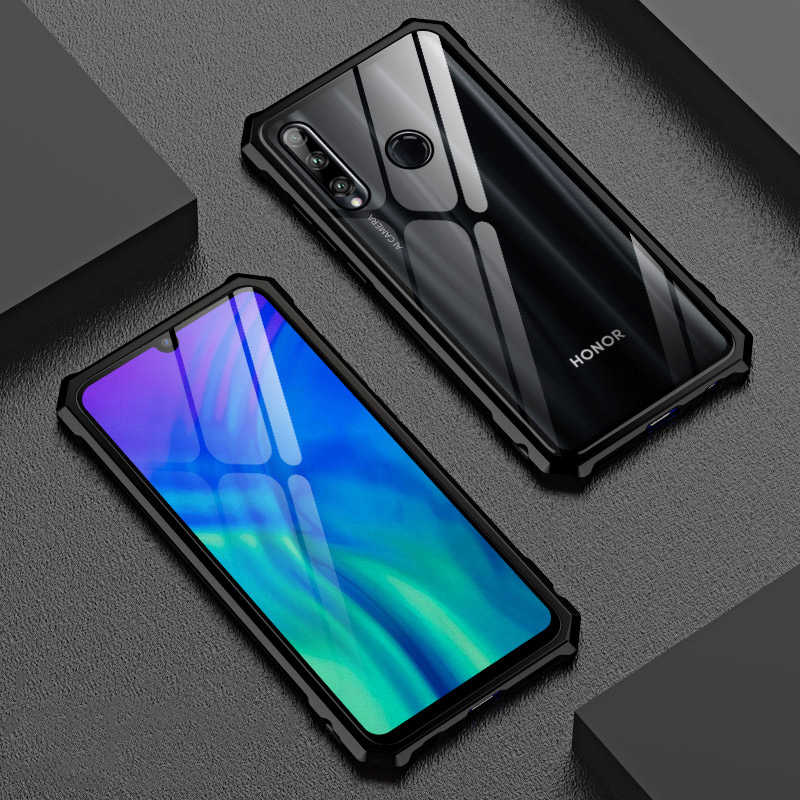 Non-slip Rhombus Aluminum Metal Case For Honor 20 Pro Lite 20i Case Luxury Rear Tempered Glass Cover For Huawei Honor 20 Lite