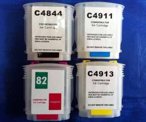 refillable ink CARTRIDGES 1SET 82 FOR HP DESIGNJET 500 800 C4911A-C4913A C4844A hp c4913a
