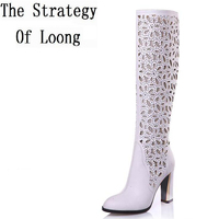 Cut Out Thick High Heel Red Bottom Round Toe Rhinestone White Black Summer Long Boots 2015