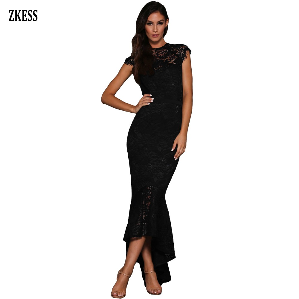 Zkess Women Black Sexy Embroidered Sheer Lace Mermaid Dress Curvy Fitted  Mesh Patchwork Party Gown Club Long Maxi Dress LC610430 4d547d1126b8