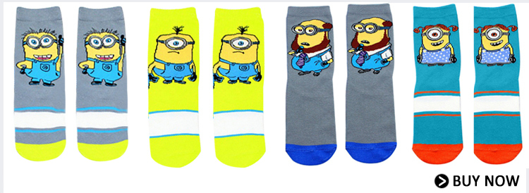 d0520fddc14 1 Pair Hot Sell Despicable Me Minions Socks Contrast Color Lovety ...