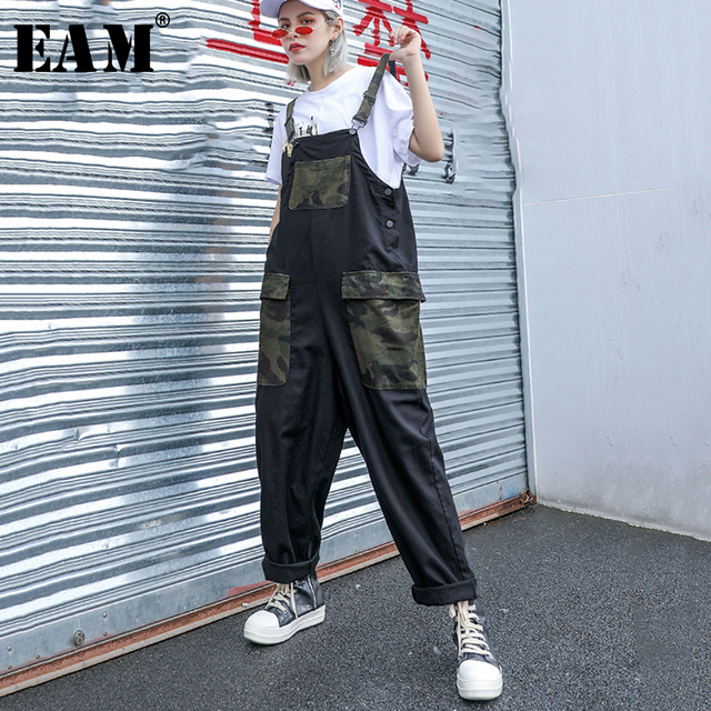 [EAM] 2019 New Spring Summer High Waist Army Green Camouflage Printed Loose Pants Women Trousers Overalls Fashion Tide JU643