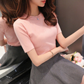 2017 spring brief slim all-match sweater short-sleeve sweater women's short design basic sweater