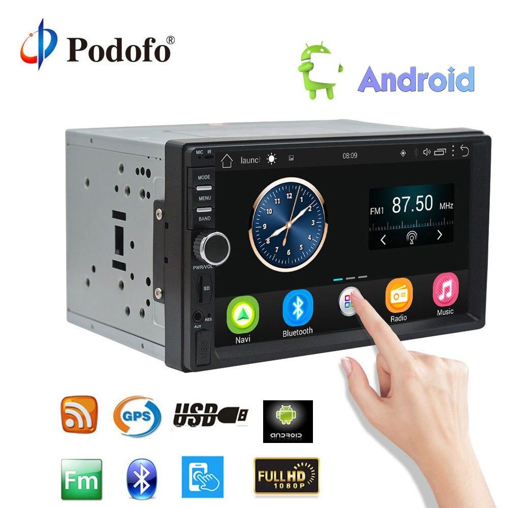 Podofo 7 ''Android Car Radio Stereo navegación del GPS Bluetooth USB SD 2 táctil Din coche reproductor Multimedia reproductor de Audio autoradio
