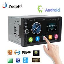 "Podofo 7 ""Android Car Radio estéreo GPS navegación Bluetooth USB SD 2 Din Touch reproductor Multimedia Car Audio reproductor Autoradio"